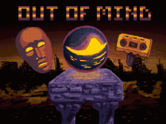 box art showing a face, a tape with a tongue and a glowing orb.